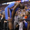 Oklahoma City\'s Kendrick Perkins (5) grimaces in pain during Game 4 of the first round in the NBA playoffs between the Oklahoma City Thunder and the Dallas Mavericks at American Airlines Center in Dallas, Saturday, May 5, 2012. Oklahoma City won 103-97. Photo by Bryan Terry, The Oklahoman