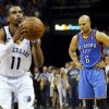 Oklahoma City\'s Derek Fisher (6) looks down as Memphis\' Mike Conley (11) takes a foul shot in the final minute of Game 3 in the second round of the NBA basketball playoffs between the Oklahoma City Thunder and Memphis Grizzles at the FedExForum in Memphis, Tenn., Saturday, May 11, 2013. Memphis won, 87-81. Photo by Nate Billings, The Oklahoman