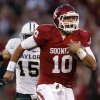 Blake Bell is still the favorite to win Oklahoma\'s starting quarterback job for 2013, but Kendal Thompson and Trevor Knight are making strong pushes, too. AP PHOTO