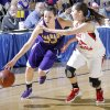 Anadarko\'s Lakota Beatty, left, shown here driving past Ft. Gibson\'s Jodi Glover last March during the Class 4A girls basketball state tournament, signed with Oklahoma State\'s women\'s basketball program on Wednesday. Photo by Chris Landsberger, The Oklahoman CHRIS LANDSBERGER - CHRIS LANDSBERGER