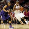 Oklahoma\'s Aaryn Ellenberg (3) drives past Kansas State\'s Mariah White (22) during an NCAA women\'s college basketball game between the University of Oklahoma (OU) and Kansas State at Lloyd Noble Center in Norman, Okla., Wednesday, Feb. 20, 2013. Photo by Nate Billings, The Oklahoman