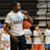 Kevin Durant talks to campers during his basketball camp on Thursday, Aug. 7, 2014 in Moore, Okla. Photo by Steve Sisney, The Oklahoman