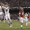 Oklahoma\'s Lacoltan Bester (11) and Jalen Saunders (8) celebrate a touchdown in front of Alabama\'s Adrian Hubbard (42) during the NCAA football BCS Sugar Bowl game between the University of Oklahoma Sooners (OU) and the University of Alabama Crimson Tide (UA) at the Superdome in New Orleans, La., Thursday, Jan. 2, 2014. .Photo by Sarah Phipps, The Oklahoman