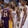 Photo - L.A. LAKERS / REACTION: Oklahoma City's James Harden (13) and Kevin Durant (35) reacts next to Los Angeles' Kobe Bryant (24) during an NBA basketball game between the Oklahoma City Thunder and the Los Angeles Lakers at Chesapeake Energy Arena in Oklahoma City, Thursday, Feb. 23, 2012.  Oklahoma City won 100-85. Photo by Bryan Terry, The Oklahoman