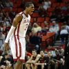 Oklahoma\'s Buddy Hield (3) reacts during an NCAA college basketball game between the University of Oklahoma and Texas Tech University at Lloyd Noble Center in Norman, Okla., Wednesday, Jan. 16, 2013. Photo by Bryan Terry, The Oklahoman