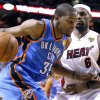NBA BASKETBALL: Oklahoma City\'s Kevin Durant (35) tries to get past Miami\'s LeBron James (6) during Game 5 of the NBA Finals between the Oklahoma City Thunder and the Miami Heat at American Airlines Arena, Thursday, June 21, 2012. Photo by Bryan Terry, The Oklahoman