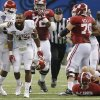 Oklahoma\'s Eric Striker (19) reacts after a sack on Alabama\'s AJ McCarron (10) during the NCAA football BCS Sugar Bowl game between the University of Oklahoma Sooners (OU) and the University of Alabama Crimson Tide (UA) at the Superdome in New Orleans, La., Thursday, Jan. 2, 2014. .Photo by Chris Landsberger, The Oklahoman