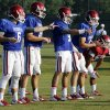 Quarterbacks Baker Mayfield, Cody Thomas, Trevor Knight, and Justice Hansen go through drills during the University of Oklahoma Sooners (OU) football practice at the rugby fields in Norman, Okla., on Tuesday, Aug. 5, 2014. Photo by Steve Sisney, The Oklahoman