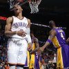 Oklahoma City\'s Russell Westbrook (0) reacts during an NBA basketball game between the Oklahoma City Thunder and the Los Angeles Lakers at Chesapeake Energy Arena in Oklahoma City, Tuesday, March. 5, 2013. Photo by Bryan Terry, The Oklahoman