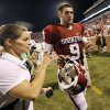 Oklahoma\'s Trevor Knight (9) walks off the field after the 34-0 win over Louisiana Monroe during the college football game between the University of Okahoma Sooners (OU) and the University of Louisiana Monroe Warhawks (ULM) at the Gaylord Family Memorial Stadium on Saturday, Aug. 31, 2013 in Norman, Okla. Photo by Chris Landsberger, The Oklahoman