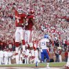 Oklahoma wide receiver Kenny Stills (4) and wide receiver Justin Brown (19) celebrate following Stills\' touchdown against Kansas in the first quarter of an NCAA college football game in Norman, Okla., Saturday, Oct. 20, 2012. (AP Photo/Sue Ogrocki)