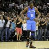 Oklahoma City\'s Kevin Durant (35) reacts as the crowd cheers during Game 1 of the Western Conference Finals between the Oklahoma City Thunder and the San Antonio Spurs in the NBA playoffs at the AT&T Center in San Antonio, Texas, Sunday, May 27, 2012. Photo by Bryan Terry, The Oklahoman