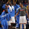 Oklahoma City\'s James Harden (13), Eric Maynor (6), Serge Ibaka (9) and Russell Westbrook (0) celebrate a 3-pointer during the preseason NBA game between the Oklahoma City Thunder and the Charlotte Bobcats at Chesapeake Energy Arena in Oklahoma City, Tuesday, Oct. 16, 2012. Photo by Sarah Phipps, The Oklahoman