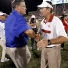 Tulsa head coach Bill Blankenship and Oklahoma head coach Bob Stoops shake hands after the college football game between the University of Oklahoma Sooners (OU) and the Tulsa University Hurricanes (TU) at the Gaylord Family-Oklahoma Memorial Stadium on Saturday, Sept. 3, 2011, in Norman, Okla. Photo by Steve Sisney, The Oklahoman ORG XMIT: KOD