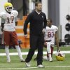 Oklahoma head coach Bob Stoops watches special teams practice at the New Orleans Saints practice facility in Metairie, La., Saturday, Dec. 28, 2013. Oklahoma will play Alabama in the Sugar Bowl on Jan. 2, 2014. (AP Photo/Bill Haber)