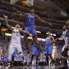 Oklahoma City\'s Serge Ibaka (9) defends Dallas\' Delonte West (13). during Game 3 of the first round in the NBA playoffs between the Oklahoma City Thunder and the Dallas Mavericks at American Airlines Center in Dallas, Thursday, May 3, 2012. Photo by Bryan Terry, The Oklahoman