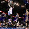 Oklahoma City\'s\' Kendrick Perkins (5) dunks the ball during the NBA game between the Oklahoma City Thunder and the Phoenix Suns at theChesapeake Energy Arena, Saturday, Feb. 9, 2013.Photo by Sarah Phipps, The Oklahoman