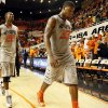 Oklahoma State\'s Marcus Smart (33) and Markel Brown (22) leave the court after a men\'s college basketball game between Oklahoma State University (OSU) and Gonzaga at Gallagher-Iba Arena in Stillwater, Okla., Monday, Dec. 31, 2012. Gonzaga won, 69-68. Photo by Nate Billings, The Oklahoman