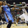Oklahoma City\'s Kevin Durant (35) keeps the ball away from Memphis\' Zach Randolph (50) during Game 3 in the second round of the NBA basketball playoffs between the Oklahoma City Thunder and Memphis Grizzles at the FedExForum in Memphis, Tenn., Saturday, May 11, 2013. Memphis won, 87-81. Photo by Nate Billings, The Oklahoman