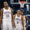 Oklahoma City\'s Kevin Durant (35), Russell Westbrook (0) and Serge Ibaka (9) react during Game 2 of the NBA Finals between the Oklahoma City Thunder and the Miami Heat at Chesapeake Energy Arena in Oklahoma City, Thursday, June 14, 2012. Photo by Sarah Phipps, The Oklahoman