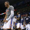 Photo - REACTION: Oklahoma City's Russell Westbrook (0) reacts during an NBA basketball game between the Oklahoma City Thunder and the Minnesota Timberwolves at Chesapeake Energy Arena in Oklahoma City, Wednesday, Jan. 9, 2013.  Oklahoma City won 106-84. Photo by Bryan Terry, The Oklahoman