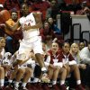 Oklahoma guard Sharane Campbell (24) saves a ball from out of bounds during the women\'s basketball game between, University of Oklahoma and West Virginia, Thursday, Feb. 13, 2014, in Norman, Okla. Photo by Sarah Phipps, The Oklahoman