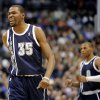 Oklahoma City Thunder forward Kevin Durant (35) and guard Russell Westbrook celebrate after a basket in the second quarter during an NBA basketball game against the Dallas Mavericks, Friday, Jan. 18, 2013, in Dallas. (AP Photo/Matt Strasen) ORG XMIT: TXMS204