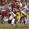 OU\'s Jalen Saunders (18) runs past Notre Dame\'s KeiVarae Russell (6), left, and Zeke Motta (17) during the college football game between the University of Oklahoma Sooners (OU) and the Notre Dame Fighting Irish at Gaylord Family-Oklahoma Memorial Stadium in Norman, Okla., Saturday, Oct. 27, 2012. Oklahoma lost 30-13. Photo by Bryan Terry, The Oklahoman