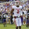 Oklahoma\'s Julian Wilson (2) celebrates after a failed scoring attempt by TCU in final seconds of the college football game between the University of Oklahoma Sooners (OU) and the Texas Christian University Horned Frogs (TCU) at Amon G. Carter Stadium in Fort Worth, Texas, Saturday, Dec. 1, 2012. Oklahoma won 24-17. Photo by Bryan Terry, The Oklahoman