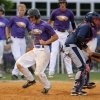 Photo - Red Oak's Bryce Deatherage scores past Asher's Phillip Leon in the third inning Garrett Noah of the Class B state baseball championship game at Dolese Park in Warr Acres, Okla., Saturday, May 10, 2014. Photo by Bryan Terry, The Oklahoman