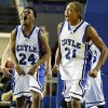 Coyle\'s Jakobi Brown (24) and Tony Aska (21) celebrate a play during a Class B Boys semifinal game of the state high school basketball tournament between Coyle and Red Oak at Jim Norick Arena, The Big House, on State Fair Park in Oklahoma City, Friday, March 1, 2013. Coyle won, 69-62. Photo by Nate Billings, The Oklahoman