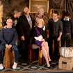 In this Thursday, Jan. 16, 2014 photo, from left, actor Bob Balaban, director, screenwriter and actor, George Clooney, actor John Goodman,  actor Bill Murray, actress Cate Blanchett, actor Matt Damon and screenwriter Grant Heslov pose during a photocall for