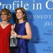 Caroline Kennedy, right, poses with former Arizona congresswoman Gabrielle Giffords after presenting her with the John F. Kennedy Profile in Courage Award at the JFK Library in Boston, Sunday, May 5, 2013.  (AP Photo/Michael Dwyer)