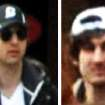 This combo of photos released by the FBI early Friday April 19, 2013, shows what the FBI is calling suspects number 1, left, and suspect number 2, right,  walking through the crowd in Boston on Monday, April 15, 2013, before the explosions at the Boston Marathon. (AP Photo/FBI)