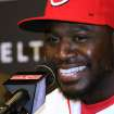Cincinnati Reds Brandon Phillips smiles as he talks with the media after the announcement of his signing of a six year contract at Great American Ballpark in Cincinnati Tuesday April 10, 2012. Phillips signed a six-year, $72.5 million contract through the 2017 season. (AP Photo/Tom Uhlman)