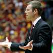 Iowa State head coach Fred Hoiberg questions a call during the second half of an NCAA college basketball game against Oklahoma State Wednesday, March 6, 2013, at Hilton Coliseum in Ames, Iowa. Iowa State won the game 87-76. (AP Photo/Justin Hayworth) ORG XMIT: IAJH110