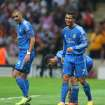 CORRECTS SPELLING OF GALATASARAY, Real Madrid's Cristiano Ronaldo, right, and  Karim Benzema, during the Champions League Group B soccer match against Galatasaray, in Istanbul, Turkey, Tuesday, Sept. 17, 2013. (AP Photo)