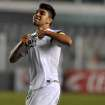 In this Aug. 21, 2013 photo released by Santos FC, Santos soccer player Gabriel celebrates his goal against Gremio during the Brazilian Cup in Santos, Brazil.  Gabriel scored his first professional goal this week, giving Santos a key win in a Brazilian Cup match and igniting widespread comparisons with Neymar. (AP Photo/Ivan Storti-Santos FC)