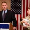 A dejected Kevin Calvey, 44,  is joined by his wife, Toni, and their 2-week old son, Thomas, to concede defeat to opponent James Lankford in the Republican run-off election in Oklahom'a 5th Congressional District Tuesday night,  Aug. 24, 2010.  Calvey, 44, delivered a message of strength and hope to about 50 supporters gathered at an Oklahoma City hotel to watch election results. Photo by Jim Beckel, The Oklahoman