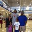 Eight-year-old Jay Fair and his family with Kevin Durant. From left to right: Christina Fair, Cameryn Fair, Kevin Durant, Jay Fair and Jamie Fair. PHOTO PROVIDED