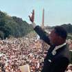 FILE - In this Aug. 28, 1963 file photo, The Rev. Martin Luther King Jr. waves to the crowd at the Lincoln Memorial for his