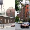 This combination photo shows, left, an undated image released by the Brooklyn Brewery, of the street near the brewery in its early days, and right, down the street from the brewery on July 1, 2013, in New York. When Brooklyn Brewery opened in the Williamsburg section of the Brooklyn borough of New York City in 1996, its neighbors were mostly deserted warehouses and factories. Today, Brooklyn Brewery is surrounded by modern apartment buildings, trendy bars, shops and restaurants. (AP Photo/Brooklyn Brewery)
