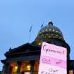 Sarah Brown of Meridian, attends a silent march against senate bill 1387 around the State Capitol in Boise, Idaho, Monday, March 26, 2012. (AP Photo/The Idaho Press-Tribune, Adam Eschbach)