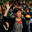 Notre Dame coach Muffet McGraw waves to the crowd prior to the first half of their NCAA women's college basketball tournament regional final game at the Purcell Pavilion in South Bend, Ind Monday March 31, 2014. (AP Photo/Joe Raymond)