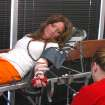 Rose State College student Lara Singletary gives blood during the Oklahoma Blood Institute's campus blood drive. The RSC Student Activities Office co-sponsors the blood drive each semester.  Community Photo By:  Steve Reeves  Submitted By:  natalie,
