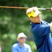 Billy Hurley III  tees off the ninth hole during the second round of the Greenbrier Classic golf tournament at the Greenbrier Resort in White Sulphur Springs, W.Va., Friday, July 4, 2014  (AP Photo/Chris Tilley)