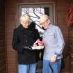 Meals on Wheels Volunteer Richa Barnes hands a meal and Valentine to James Pittman at his home.  Community Photo By:  Lisa Beckloff, NRHS  Submitted By:  Lisa, Norman