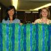 Sarah Landrum (left) and Emily Gray hold up their finished quilt Monday. The students are part of Mustang High School's new Excellence in Ethics course. The quilt is part of a service project for Faith Hospice.  Community Photo By:  Shannon Rigsby, MPS  Submitted By:  Shannon, Mustang