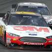 Greg Biffle leads Matt Kenseth during practice for Sunday's NASCAR Sprint Cup series auto race at New Hampshire Motor Speedway, Saturday, Sept. 21, 2013, in Loudon, N.H. (AP Photo/Jim Cole)