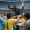 FILE - In this June 21, 1970 file photo, Brazil's Pele, centre is hoisted on the shoulders of his teammates after Brazil won the World Cup soccer final against Italy, 4-1, in Mexico City's Estadio Azteca, Mexico. On this day: Perhaps the most glorious day in Brazil's World Cup history. Its third World Cup triumph against a strong Italian side meant it kept the Jules Rimet trophy for good. (AP Photo/File)